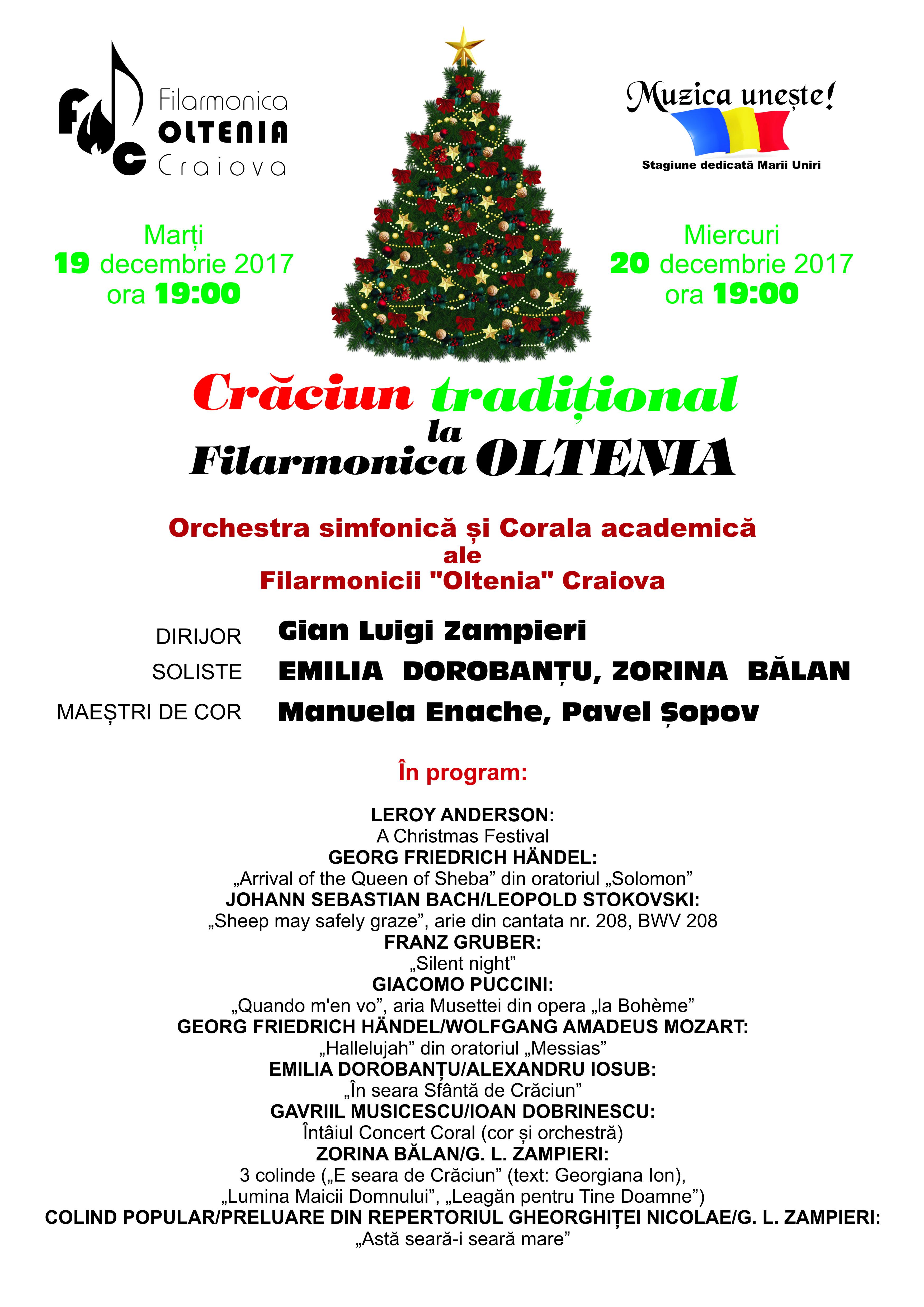 Concert de Crăciun la Filarmonica Oltenia Craiova 19-20 Decembrie 2017