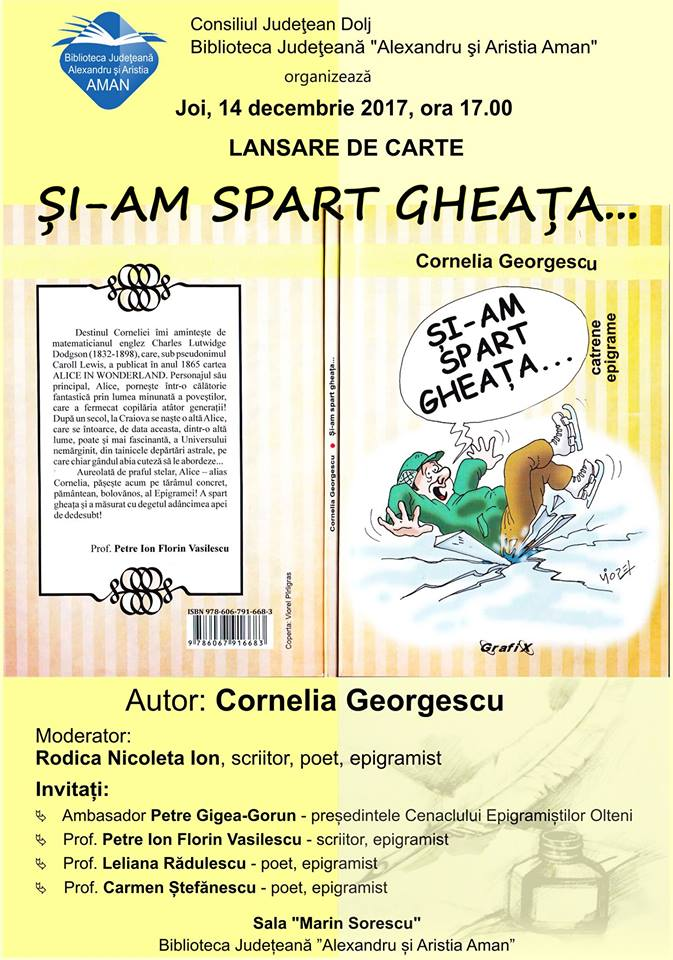 """Lansare carte Biblioteca Județeană ,,Alexandru și Aristia Aman"""" Craiova"""