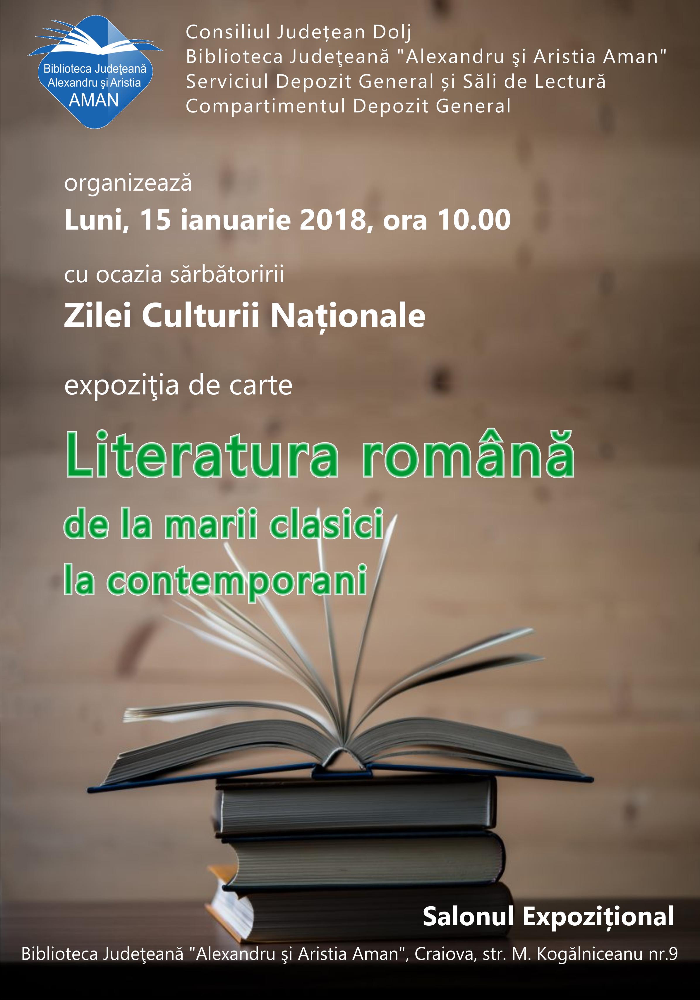 """""""Literatura română de la marii clasici la contemporani"""""""