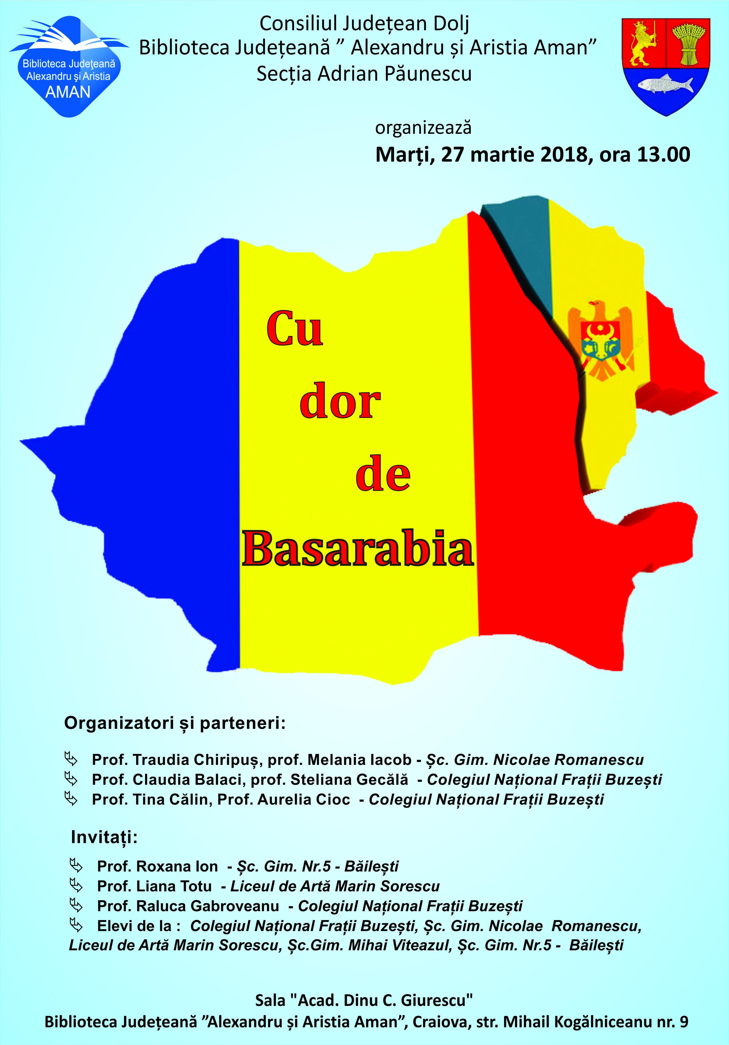 """Acțiune educativă, ,,Cu dor de Basarabia"""", Craiova"""