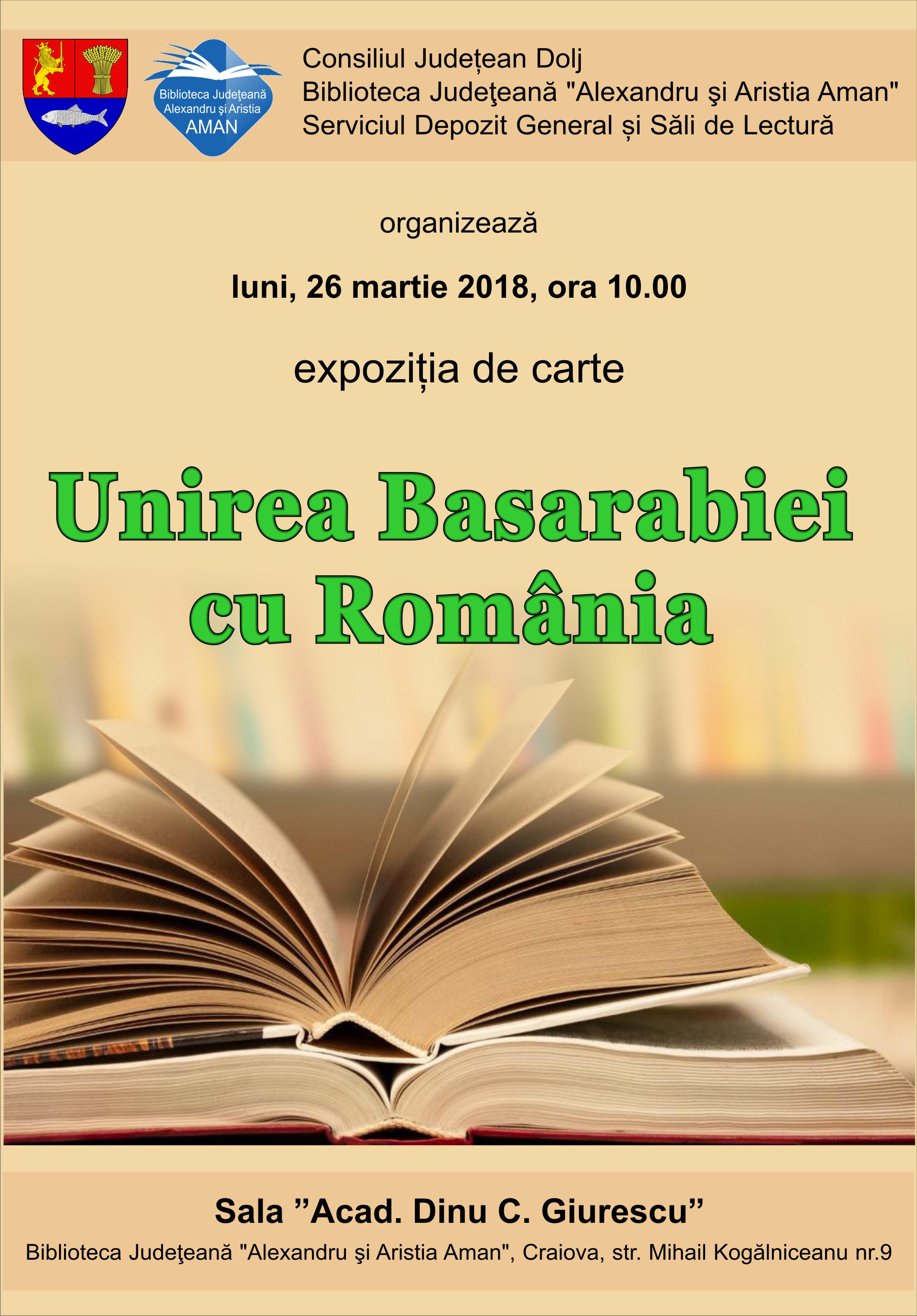 """Expoziție de carte ,,Unirea Basarabiei cu România"""""""