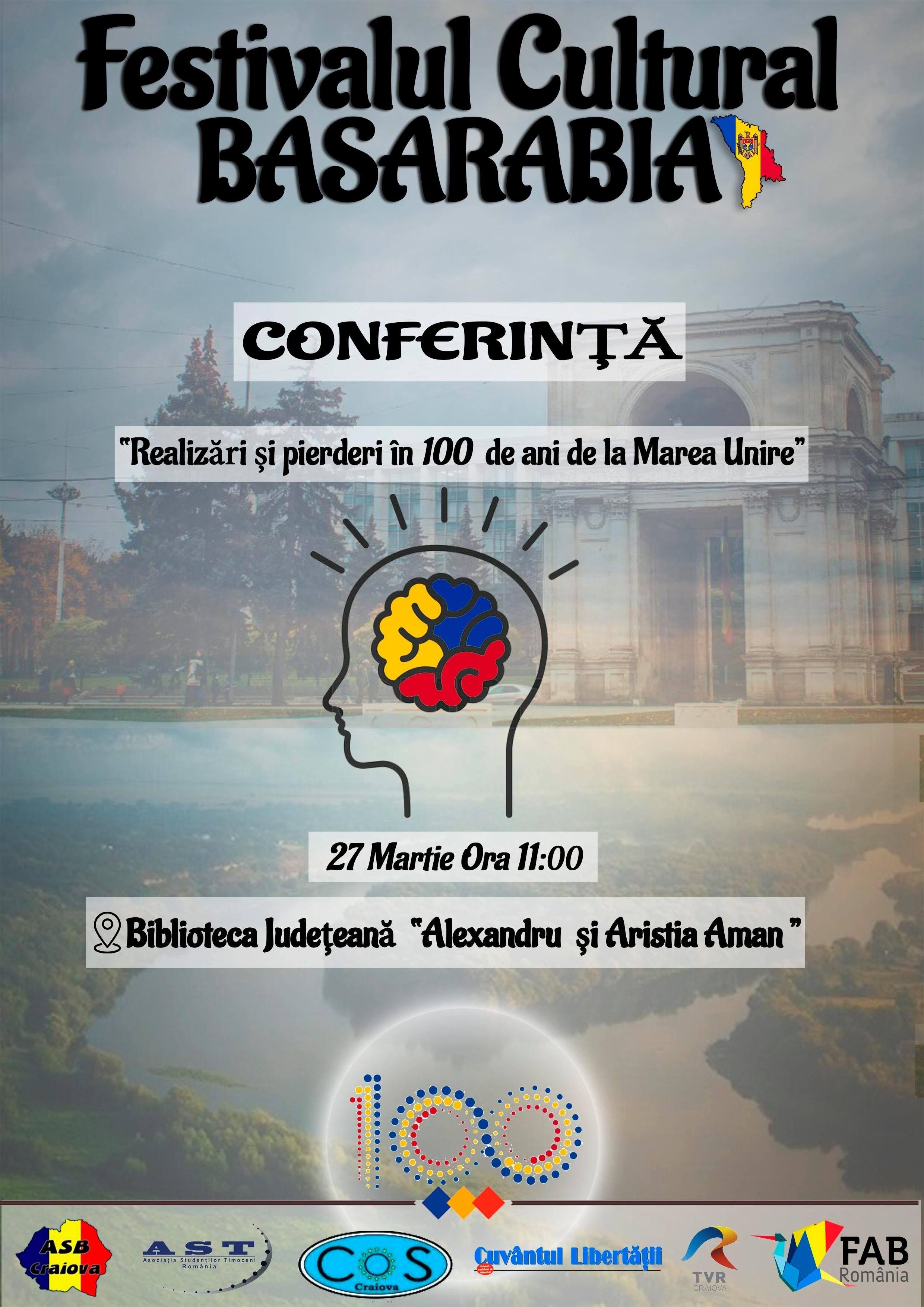 """Conferință ,,Realizări şi pierderi în 100 de ani de la Marea Unire"""" în Craiova"""