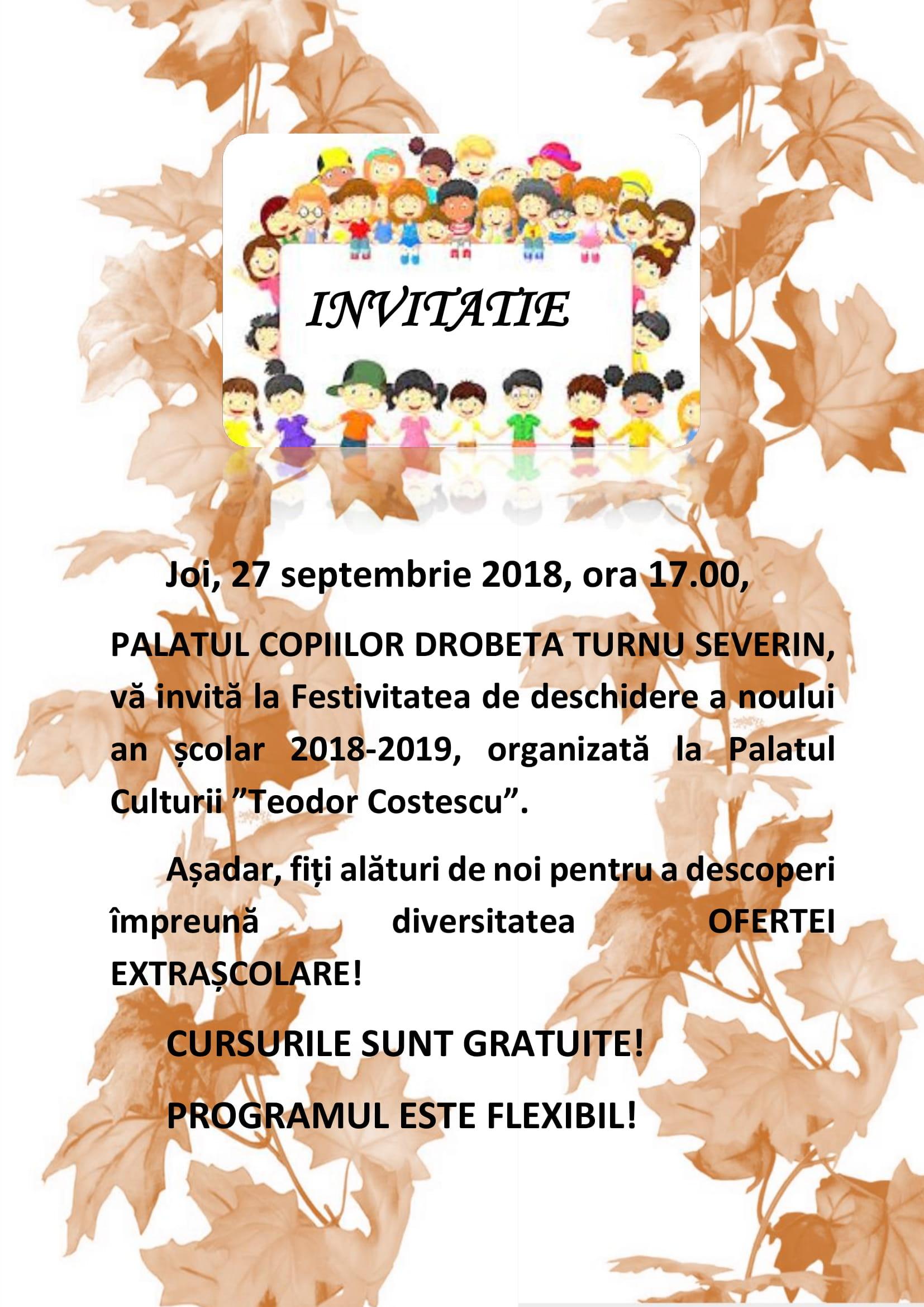 Festivitatea de deschidere a noului an școlar de la Palatul Copiilor