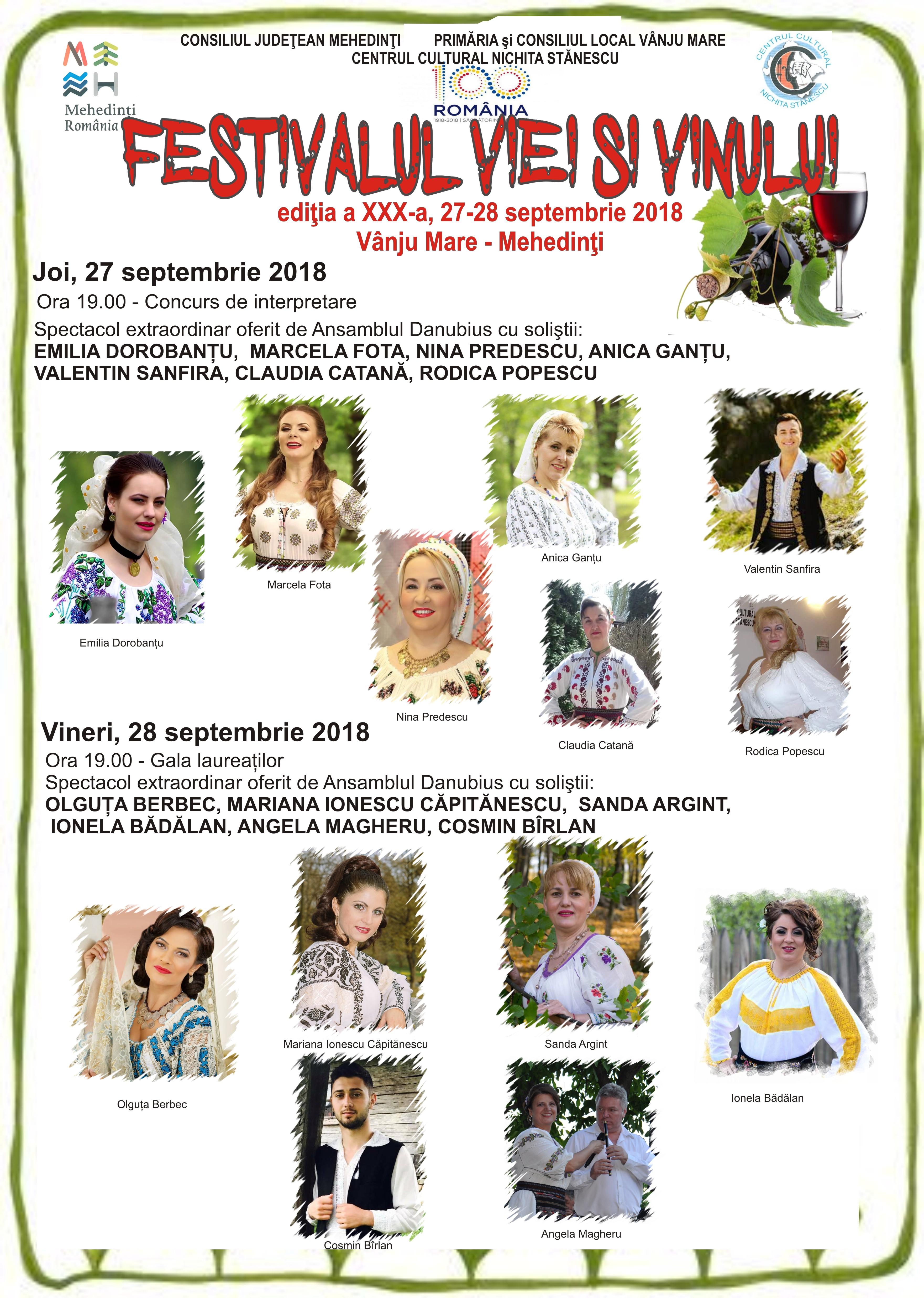 Festivalul Viei și Vinului Vânju Mare, 27-28 septembrie