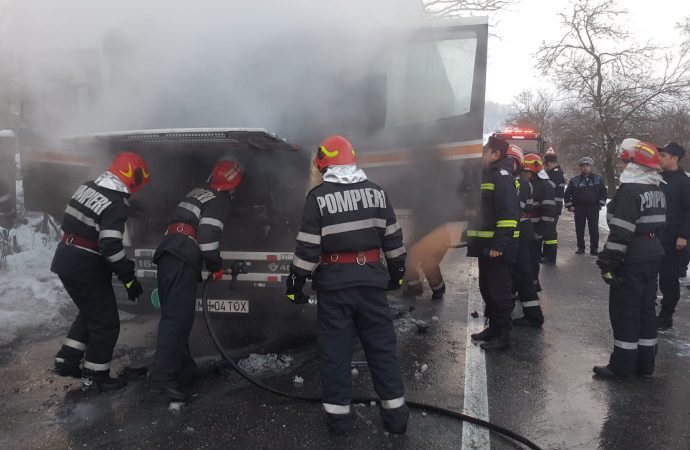 Incendiu in cabina unui autotren